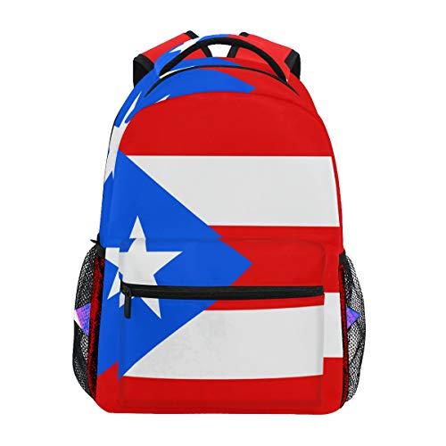 Adult Travel Backpack Puerto Rico Flag School Casual Book Bags Lightweight Travel Daypack