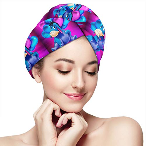 Super Absorbent Dry Hair Hat- Winnie Eeyore Hair Towel Wrap Turban Microfiber Drying Bath Shower Head Towel With Buttons,Quick Magic Dryer