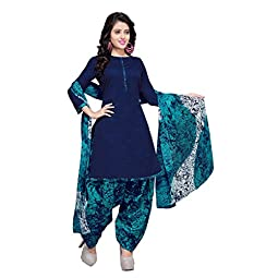 Rajnandini Women's Blue Cotton Printed Unstitched Salwar Suit Material (Free Size)