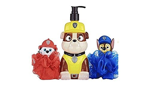 - Paw Patrol Bath Time Friends 3pc Gift Set - Chase & Marshall Bath Squirter Scrubbies & Rubble Body Wash Soap Pump