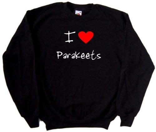 (I Love Heart Parakeets Black Sweatshirt (White & Red print)-XXX-Large)