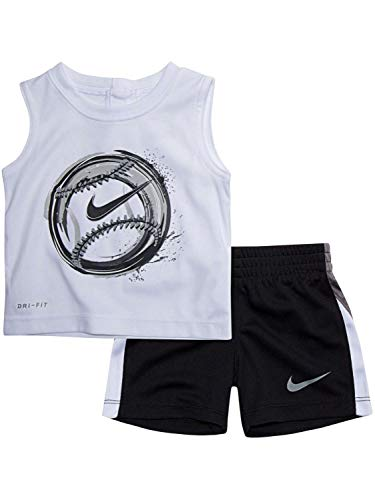 Nike Toddler Boys 2 Piece Tank Top and Shorts Set White/Blue Size 2T
