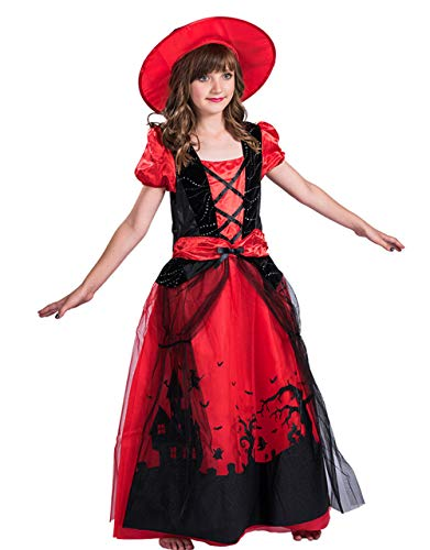 X-COSTUME Halloween Witch Cosplay Costume Dress with Cap Fancy Holly Dress-up for Kids Girls (Red/Black)-Medium -