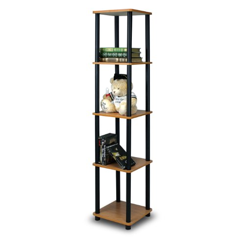 Display Corner Stand - Furinno 99132LC/BK Turn-N-Tube 5-Tier Corner Square Rack Display Shelf, Light Cherry/Black
