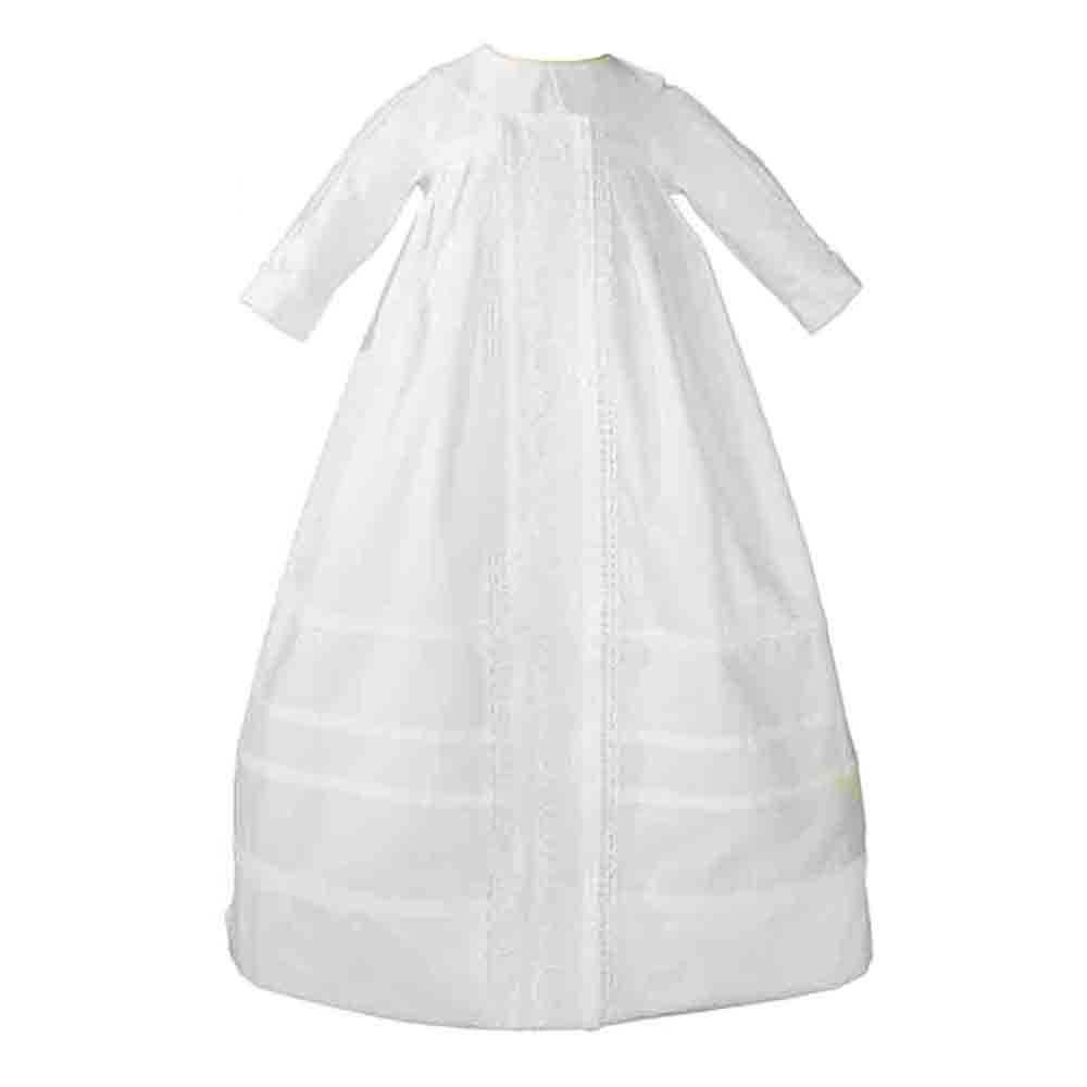 Cotton Sateen Long Sleeves Christening Gown Baptism Gown with Venice Lace 6M