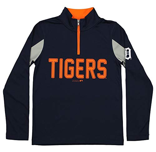 Outerstuff MLB Youth Boys 1/4 Zip Performance Long Sleeve Top, Detroit Tigers, Large Detroit Tigers Youth Fleece Pullover