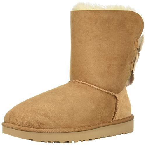 (UGG Women's W Bailey Bow Short Ruffle Fashion Boot, Chestnut, 8 M US)