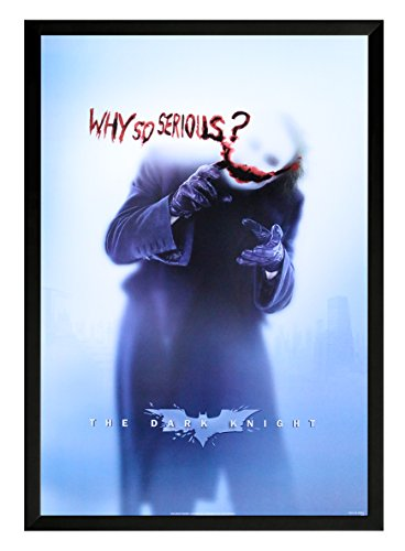 (Joker-Why so Serious? Batman the Dark Night Framed Movie Poster Print 24x36. On a black frame. Made in USA.)