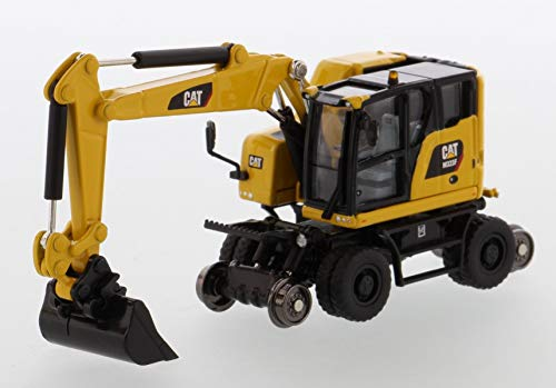 Diecast Masters CAT Caterpillar M323F Railroad Wheeled Excavator with 3 Accessories High Line Series 1/87 (HO) Scale Diecast Model 85612