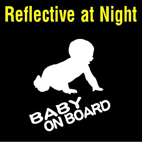 6 Reflective BABY on BOARD Vinyl Decal Sticker for rear car window of a jeep minivan or pickup truck