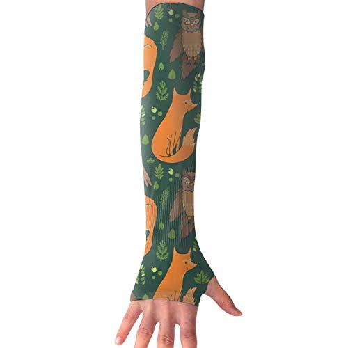 MASDUIH Owl Woodpecker Gloves Anti-uv Sun Protection Long Fingerless Arm Cooling Sleeve