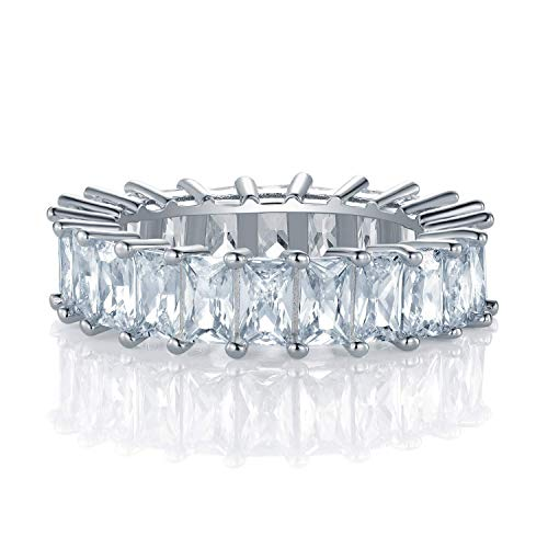 OPALBEST Eternity Wedding Ring Band Emerald Cut Cz Stones White Gold Plated for Women Men(10)