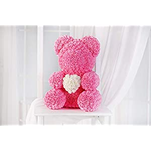 Teddy Bear Rose - Pink, Rose Bear, Forever Rose Bear, Love Bear, Faux Flower Rose Teddy Bear, Forever Red Rose Bear 64