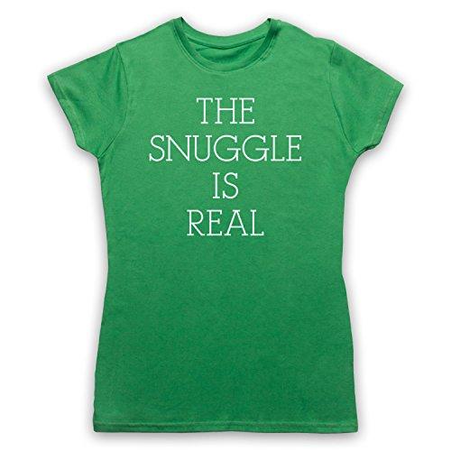 The Snuggle Is Real Cute Parody Slogan Camiseta para Mujer Verde