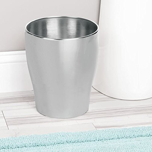 mDesign Modern Round Metal Small Trash Can Wastebasket, Garbage Container Bin for Bathrooms, Powder Rooms, Kitchens, Home Offices - Durable Stainless Steel with Brushed Finish