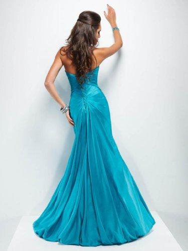 GEORGE charmante Abendkleid lange Blau Herz BRIDE Ausschnitt Ballkleid rwf5qr