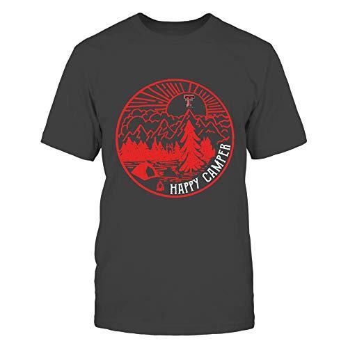 (FanPrint Texas Tech Red Raiders T-Shirt - Camping - Camping Night Circle - Happy Camper - Premium Men's Tee/Dark Grey/S)