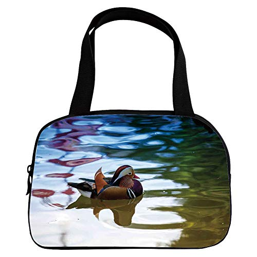 Vogue Small Handbag Pink,Wildlife Decor,Chinese Mandarin Ducks Sail in River East Asian Winged Creature Peace Habitat,Multi,for Girls,Diversified (Chinese Mandarin Duck)