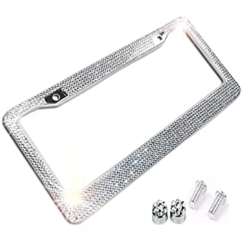 1pc OxGord Metal License Plate Steel Frame Diamond Cut Crystal Bling Car Truck