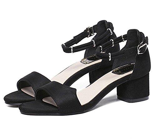 Mujere Verano Zapatos de Tacó Sandalias Elegantes y Acogedor Sandalias de Correa de Talones Gruesos para Bodas Fiestas Banquetes y Partido Negro