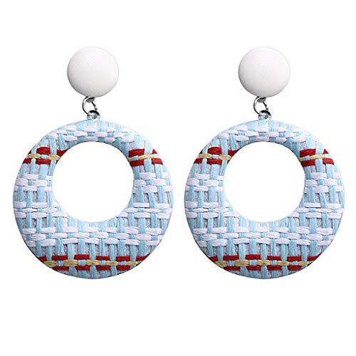 TIFENNY 2019 New Weaving Earring Bohemian Retro Style Handmade Rattan Geometric Semicircle Eardrop Jewelry