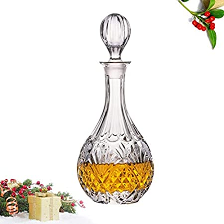 UPKOCH Decantador de whisky de cristal, dispensador de cristal, botella de almacenamiento de bebidas de gran capacidad para licor Scotch Bourbon Bar Barware de 850 ml