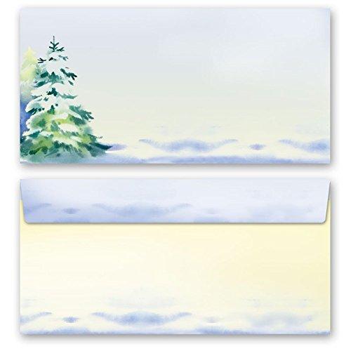 Set complet de 20 pièces SAISON D'HIVER (variante A) 10 feuilles de papier à lettres et 10 enveloppes DIN LONG sans fenêtre