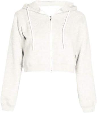 Abetteric Womens Slim Hooded Zipper Crop Top Long Sleeve Sweatshirt Top