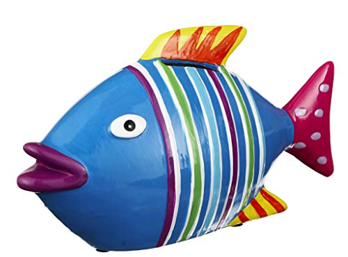 Fish Bright Nautical Multicolored Stripe 8 x 4 Glossy Ceramic Toy Piggy Bank
