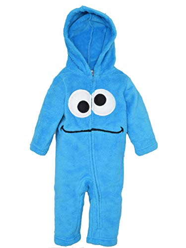 Sesame Street Cookie Monster Infant Baby Boys' Zip-Up Hooded Costume Coverall, 24M