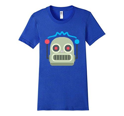 [Women's Robot Pixel Emoji Emoticon Fun Funny Sci-Fi T Shirt Tee Men Medium Royal Blue] (Female Robot Costumes)