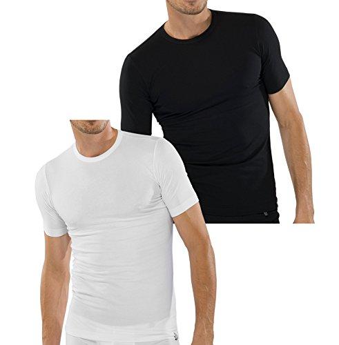 """Schiesser 2 Pack T-shirt da uomo a maniche corte collo rotondo """" 95/5-inch - bianco, nero"""
