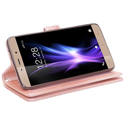 Coolpad REVVL Plus Case (T-Mobile), REVVL Plus Wallet Case, SOGA  [Pocketbook Series] PU Leather Flip Shinny Wallet Case for Coolpad REVVL  Plus - Rose