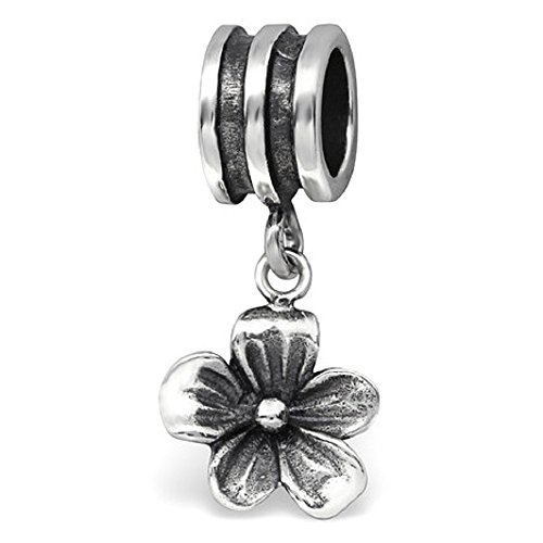 Dangling Flower Charm - 925 Sterling Silver Dangling