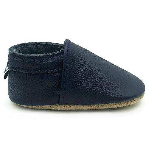 Owlowla Baby Soft Sole Leather Crib Shoes Infant Toddler Pre-Walker Shoes Boy Girl(F-Navy,US6.5) ()