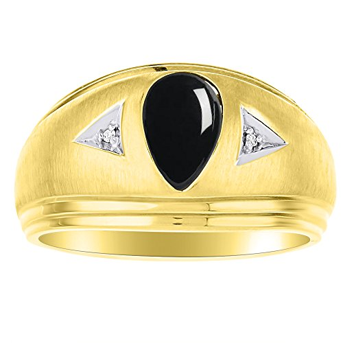 Diamond & Black Onyx Ring Sterling Silver or Yellow Gold Plated Silver Band