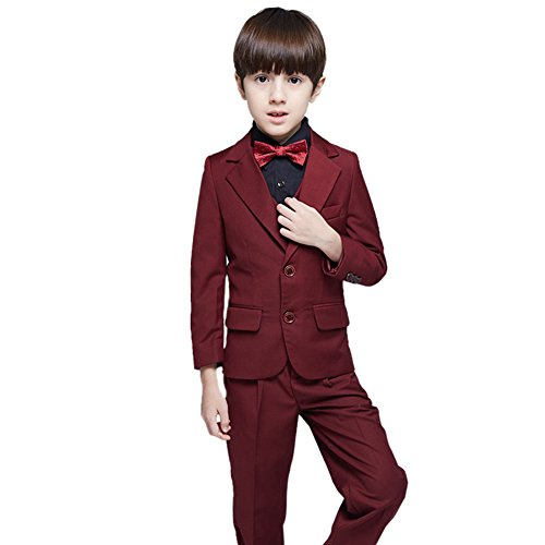 SK Studio Boys' 5 Pieces Classic Slim Fit Party Formal Wedding Suits Brugundy by SK Studio