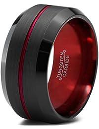 Tungsten Wedding Band Ring 10mm for Men Women Red Black Beveled Edge Brushed Polished Center Line Lifetime Guarantee