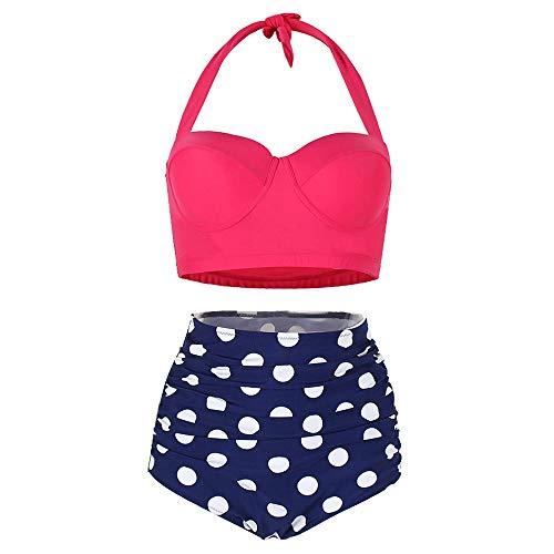 KCatsy Dotted Ruched Halter Bikini Set Hot Pink