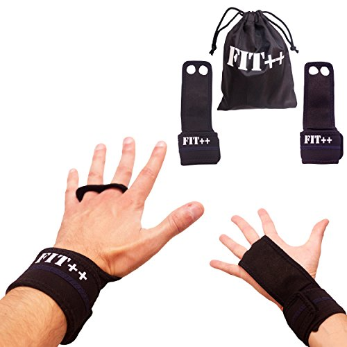 Workout Grips By FIT++ Leather Grips For Gymnastics, Crossfit, Weight lifting, Bodybuilding & More- Padded Grips & Wrist Support-Great Comfort & Protection For Your Hands- Work Great For Men & Women