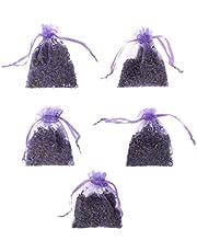 Professional5Pcs Real Lavender Organic Dried Flowers Sachets Buds Bag Fragrance Air Fresher Car Home Decor (Light Purple)