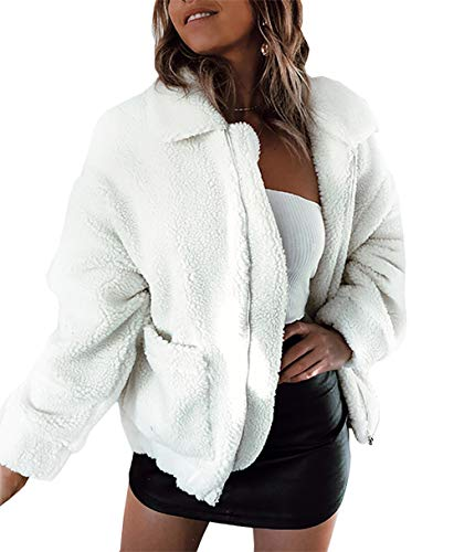 PRETTYGARDEN Women's Fashion Long Sleeve Lapel Zip Up Faux Shearling Shaggy Oversized Coat Jacket with Pockets Warm Winter (White, Large)