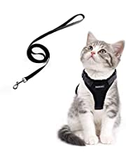 Cat Harness and Leash Set for Walking Escape Proof, Adjustable Small Vest Harnesses for Cats with 59 Inches Leash, Small Kitten Leash Harness with Reflective Strips and 1 Metal Leash Ring