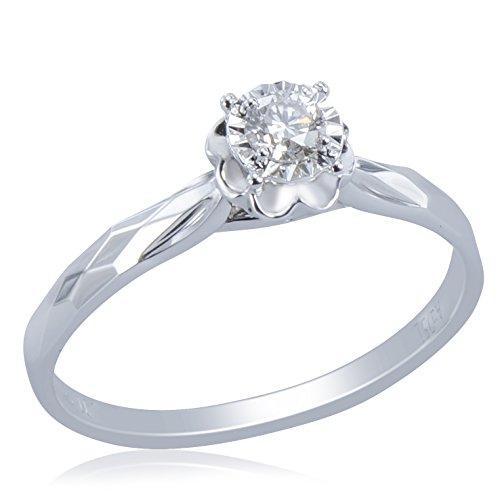 Women's 18K White Gold Ring Featuring 4-Prong Set Round Brilliant Cut 0.15ct Diamond in Flower Design Centre-Piece (Vintage Centrepieces Flower)