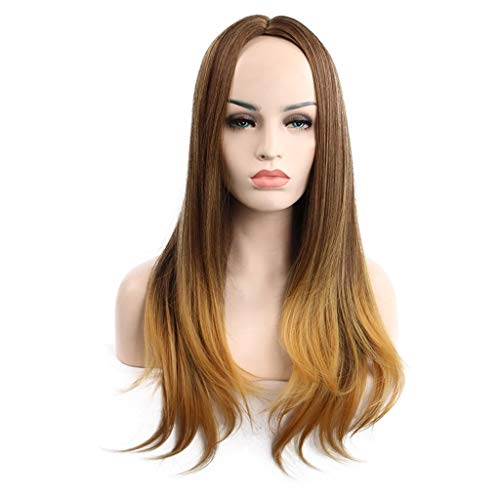 Brown Wig Curly None Lace Front Wig Long Straight Wigs Realistic Synthetic Hair Replacement Wig Ombre 2 Tone for Women (a) -