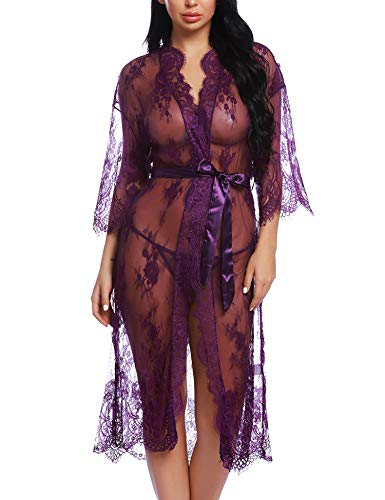 RSLOVE Lingerie for Women Sexy Long Lace Kimono Robe Eyelash Babydoll Sheer Cover up Dress Purple XXL
