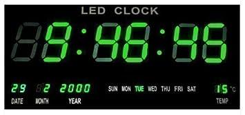 Horloge Murale Numérique LED Horloge Quarz Date Température Bar ...