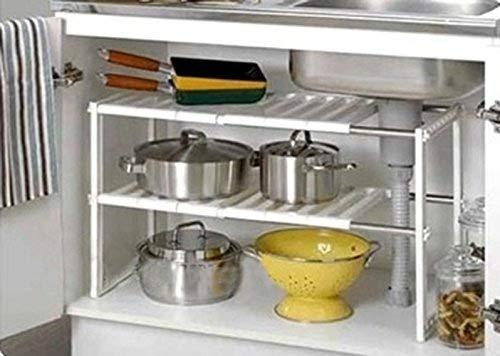 FiNeWaY nuevo bajo fregadero cocina rack Organizador ajustable organizador estante unidad de almacenamiento extraíble: Amazon.es: Hogar