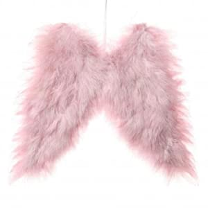 Fluffy Pink Feather Angel Wings Hanging Christmas Tree Decoration  - Pink Feather Christmas Tree