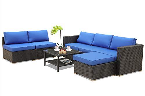 Leaptime Patio Furniture Garden Rattan Sofa 7-Piece PE Rattan Royal Blue Cushion Outdoor Couch O ...